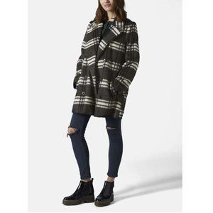 Topshop Plaid Double Breasted Pea Coat